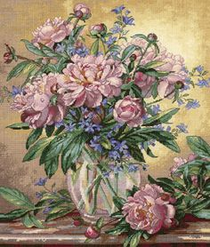 Peonies & Canterbury Bells Cross Stitch Kit from Dimensions Gold Collection