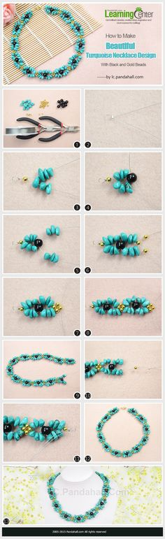 How to Make Beautiful Turquoise Necklace Design with Black and Gold Beads ~ Seed Bead Tutorials