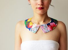 Floral Peter pan collar  Cotton and lace  Blue  Brazil by GalaBorn