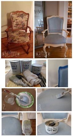 DIY Painted Fabric Chair using Annie Sloan Chalk Paint Stoffmalerei Refurbished Furniture, Upholstered Furniture, Repurposed Furniture, Distressed Furniture, Painting Fabric Furniture, Paint Upholstery, Chalk Paint Chairs, Annie Sloan Chalk Paint Fabric, Chalk Paint Projects