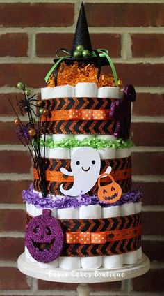 3 Tier Halloween Diaper Cake Halloween Baby by BabeeCakesBoutique