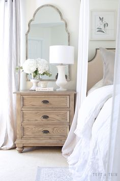 Make your house a home Master Bedroom Update: French Elegance/ Tuft & Trim Interior Design Tips in S Bedroom Night Stands, Night Stand Decor, Home Bedroom, Bedroom Ideas, Modern Bedroom, Contemporary Bedroom, Bedroom Designs, Airy Bedroom, Master Bedrooms