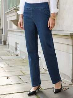 Smooth-Comfort Pull-On Jeans | Women's Pants | Appleseeds