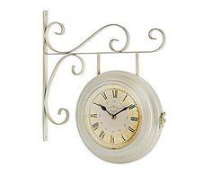 0d8eaa93457c Vintage romántico  Reloj de pared de metal Estación – crema