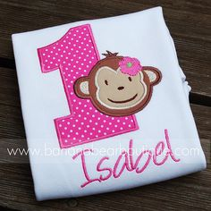 Hot PInk Mod Monkey Bodysuit or Shirt by bananabearboutique, $23.00