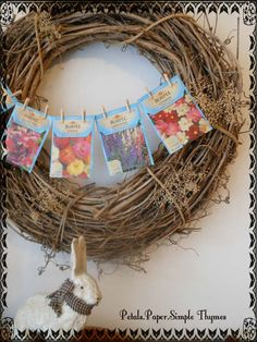 I quickly gave the seed packets a 'vintage' look, by applying 'Gathered Twigs' Distress Ink. The bunting was hanging up to welcome Spring in minutes! Wreath Ideas, Diy Wreath, 90th Birthday, Birthday Ideas, Nursing Home Crafts, Vintage Seed Packets, Welcome Spring, Farm Theme, Spring Has Sprung