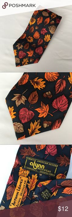 """Alynn Autumn Leaves Fall 100% Silk Made USA Tie Alynn Autumn Leaves Fall 100% Silk Made USA Tie Measures 3.5"""" wide and 56"""" long.  Excellent condition no flaws alynn Accessories Ties"""