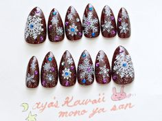 Fake nails snowflakes holiday nails Japanese nail art by Aya1gou