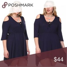 RJ Lace-up Cold Shoulder Tunic Get your sexy back!!  Wear this tunic with your favorite leggings or Jeggings!!  You can also wear it as a dress!! Comes in Black, Navy or White!!   Lace-up Cold Shoulder with Hanky Hem. 95% Rayon 5% Spandex Tops Tunics