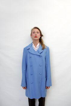 Vintage coat / blue 60s double breasted jacket / size L by nemres