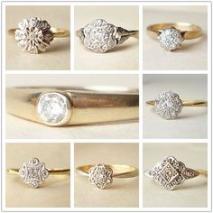 "vintage engagement rings?  Wow one is actually my moms.... I bet she doesn't think of it as ""vintage"".  LOL"