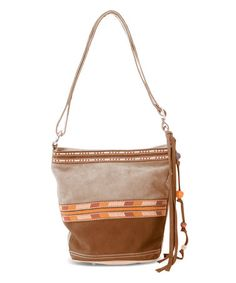 This Amber Suede Mix Bucket Bag is perfect! #zulilyfinds