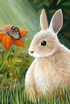 ACEO art print Hare 55 rabbit butterfly painting by by artbyLucie, $5.00