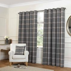 Rapport Grey Highland Plaid Luxury Tartan Check Fully Lined Eyelet Curtains
