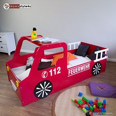 Feuerwehr Kinderbett Zum Traumen Tolles Abenteuerbett Furs Kinderzimmer IdeenKinderzimmer IdeenLattenrostProjekteJungen