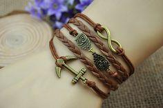 Brown charm braceletbronze infinity anchor by HandmadeTribe, $6.50