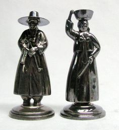 Pair Of Sterling Silver Asian Figural Couple Salt And Pepper Shakers marked 950