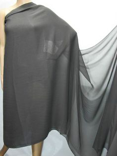 "Polyester Faux Silk Georgette Chiffon Fabric Charcoal Grey by Yard (60""wide)"