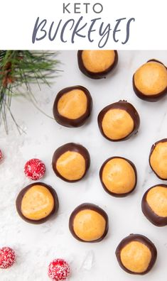 Sweet and creamy peanut butter balls dipped in chocolate. these buckeyes are keto and low carb! Perfect for Christmas and the holidays they're easy to make and only use 7 ingredients. Based off my mother's famous recipe. Keto Diet Breakfast, Breakfast Recipes, Dessert Recipes, Breakfast Ideas, Keto Friendly Desserts, Low Carb Desserts, Real Food Recipes, Keto Recipes, Lunch Recipes