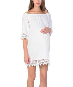 Love this White Crochet Off-Shoulder Maternity Dress on #zulily! #zulilyfinds