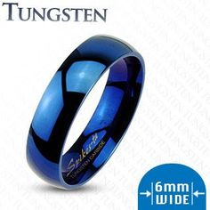 Só marquei porque é azul = D 6mm Blue IP Tungsten Carbide Glossy Mirror Polished Wedding Band Ring