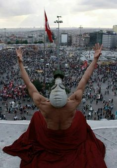 Post with 1795 views. Iconic Picture of a man wearing a gas mask on top of Ataturk Cultural Center, Taksim - Turkey Baghdad Iraq, Foto Art, Weird Pictures, Photojournalism, Beautiful, World, Illustration, Cultural Center, Photography