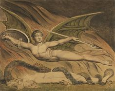 Year: 1795  Satan hovers in malevolent glory over Eve, who is entwined by his alter ego, the serpent of the Garden of Eden. The uneven, fibrous, opaque color of the ground under Eve distinguishes this area as printed, while the even sweep of the red washes shows that the flames behind Satan are mostly watercolor, a medium William Blake often used because he liked its transparent quality.  Graphite, pen and black ink, and watercolor over a color print