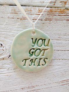 Aqua Ceramic Motivational Pendant, Inspiration, Spring Fashion, Ceramic Jewelry