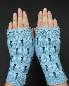 Light Blue Fingerless Gloves Hand Knitted With Dragonflies
