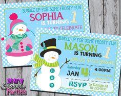 digital Snowman Themed Invitation Christmas Birthday Invite Snowman Party Invitation - Winter Birthday Ideas