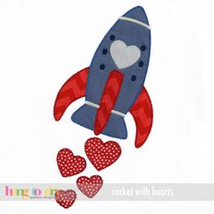 Hang to Dry Applique - Rocket with Hearts, $3.99 (http://www.hangtodryapplique.com/rocket-with-hearts/)