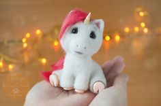 Really love this, from the Etsy shop Lyntoys. #unicorn #etsy #toy #cute #gift #miniaturesculpture #feltsculpture http://etsy.me/2HSfW2B