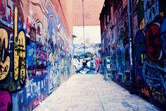 Graffiti wall location - Ann Arbor, behind the Michigan Theater.