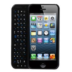 Back-light Slide-Out Bluetooth Keyboard Case for iPhone 5/5S - Black