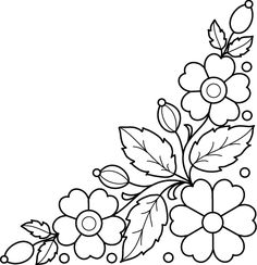 Would be pretty embroidery for pillowcases . Hand Embroidery Videos, Folk Embroidery, Hand Embroidery Designs, Floral Embroidery, Beaded Embroidery, Embroidery Stitches, Machine Embroidery, Embroidery Flowers Pattern, Flower Patterns