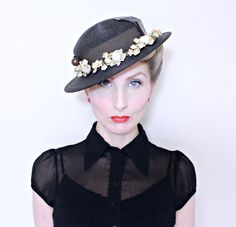 1930s Vintage Hat / 30s Boater Hat / Black straw / Leather trim / Flowers / Beaded Hat pin by HighHatCouture on Etsy