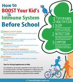3 tips for raising healthy kids - how to boost your kid's Immune system before school infographic - 4 supplements that can help keep your kids healthy!