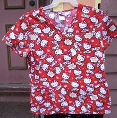 31190a83beb Hello Kitty print Scrub Top shirt,red background,100% cotton,size M