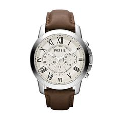 Fossil Grant Leather Watch - Brown