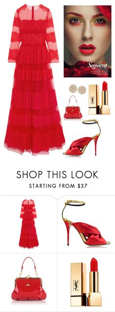 """""""Lady in Red ♡"""" by kotnourka ❤ liked on Polyvore featuring Valentino, Oscar de la Renta, Vivienne Westwood, Yves Saint Laurent and Dana Rebecca Designs"""