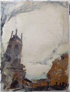 Towards St Stephens Church, Stockbridge Collage with Monoprint and Wax 56cm x 76cm