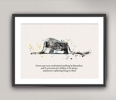 The LITTLE PRINCE Nº11 Watercolor Print - Le Petit Prince Quote Elephant Hat Silhouette Saint-Exupéry Painting Wall Gift Decor Poster