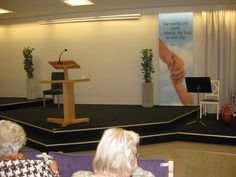 Inside our Kingdom hall in Ystad, Sweden. The podium and the text for 2013 from Josh 1:9 <3