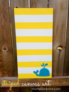 striped canvas art | simplykierste.com. Love the bright colors.  Love the idea.  Inspiration for kids bathroom maybe?