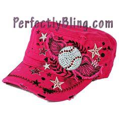 Rhinestone Cap Wings and Baseball -  Hot Pink $16.00