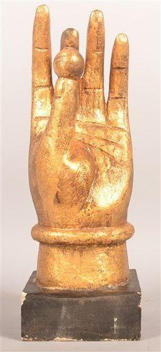 Antique Folk Art Hand with Ball Sculpture.