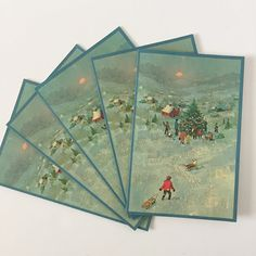 5 Vintage Norcross Glitter Christmas Cards by VintageRetrievers