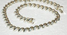 Fancy Italian Sterling Silver Slanted Links Necklace 37.5 Grams