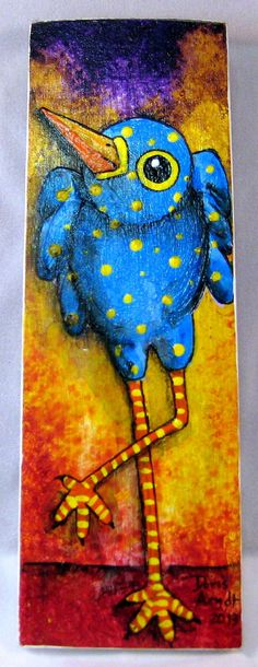Blue Whimsical Bird by PhantomWhispers on Etsy, $45.00
