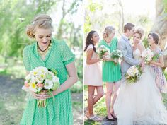 BMs colored and printed dresses staggered with bride and bouquets